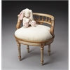 Hathaway Cream & Gold Painted Vanity Seat, Cream & Gold