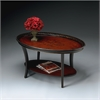 Butler Hamlet Traditional Red & Black Painted Oval Cocktail Table, Traditional Red and Black
