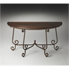Nottingham Metal & Wood Demilune Console Table, Metalworks