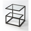 Mallory Black Metal & Glass Bunching Table, Metalworks