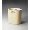 Butler Lido Cream Leather Storage Basket, Cream Leather