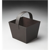 Lido Brown Leather Magazine Basket, Brown Leather