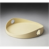 Lido Cream Leather Serving Tray, Cream Leather