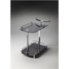 Penelope Black Glass Serving Cart, Black Glass