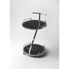 Gigi Modern Black Glass Serving Cart, Black Glass