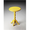 Duxbury Yellow Reclaimed Wood Pedestal Table, Yellow