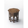 Wood & Bone Inlay Accent Table, Wood & Bone Inlay