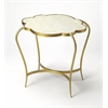 Adria White Marble End Table, Marble & Metal