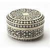 Viviene Black Bone Inlay Round Storage Box, Black Bone Inlay