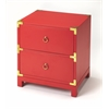 Ardennes Red Campaign Chairside Chest, Red