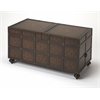 Dennard Faux Leather Trunk Cocktail Table, Heritage