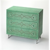 Velinda Green Raffia Console Chest, Green
