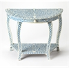 Darrieux Blue Bone Inlay Demilune Console Table, Blue Bone Inlay