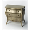 Francine Brushed Pewter Painted Bombe Chest, Brushed Pewter