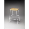 Parrish Wood & Metal Bar Stool, White