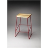 Parrish Wood & Metal Bar Stool, Red