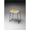 Parrish Wood & Metal Stool, Blue