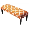 Lyon Cotton Upholstered Bench, Orange Quatrefoil