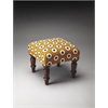 Samina Cotton Upholstered Stool, Turmeric Ikat