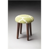 Rochon Cotton Upholstered Stool, Lime Quatrefoil