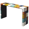 Mosaic Leather Console Table, Loft