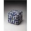 Berkeley Blue Cotton Pouffe, Navy Interlocking Squares