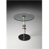 Salinger Round Glass Accent Table, Nickel