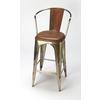 Roland Iron & Leather Barstool, Brown Leather