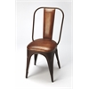 Riggins Iron & Leather Side Chair, Brown Leather