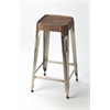 Connor Iron & Leather Barstool, Brown Leather