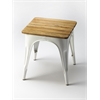 Butler Junction White Iron & Wood Stool, White