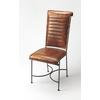 Buxton Iron & Leather Side Chair, Brown Leather