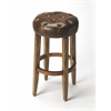 Gallatin Round Leather Bar Stool, Brown Leather