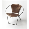 BUTLER Accent Chair, Brown Leather