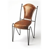 Coriander Iron & Leather Side Chair, Brown Leather