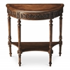 Danelle Dark Toffee Demilune Console Table, Dark Toffee