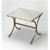 Pamina Travertine Accent Table, Antique Gold