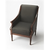 Wexford Black Leather Accent Chair, Plantation Cherry