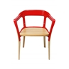 Jasper Steel Wood Chair, Red/Natural