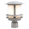 PLC Lighting PLC 1 Light Outdoor Post Light Tusk Collection , Silver