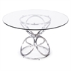 """Brooke 48"""" Round Dining Table in Brushed Stainless Steel finish with Grey Painted Tempered Glass"""