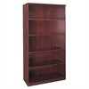 "Mayline Corsica Series 5-Shelf Bookcase - 36"" Width x 16"" Depth x 68"" Height - Veneer, Wood - Mahogany"