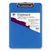 "CLI Rubber Grip Plastic Clipboards - 8.50"" x 11"" - Low-profile - Plastic - Neon Blue"
