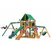 Frontier Swing Set w/ Timber Shield and Deluxe Green Vinyl Canopy