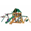 Gorilla Playsets Frontier Swing Set w/ Timber Shield and Sunbrella Canvas Forest Green Canopy