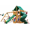 Mountaineer Swing Set w/ Amber Posts and Deluxe Green Vinyl Canopy