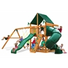 Mountaineer Swing Set w/ Amber Posts and and Sunbrella Canvas Forest Green Canopy
