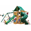 Gorilla Playsets Mountaineer Swing Set w/ Timber Shield and Deluxe Green Vinyl Canopy