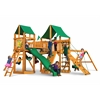 Pioneer Peak Swing Set w/ Amber Posts and Deluxe Green Vinyl Canopy