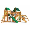 Gorilla Playsets Pioneer Peak Swing Set w/ Amber Posts and and Sunbrella Canvas Forest Green Canopy